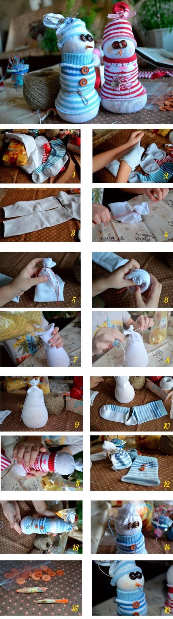 Новогодние игрушки из носков - 4 мастер-класса!