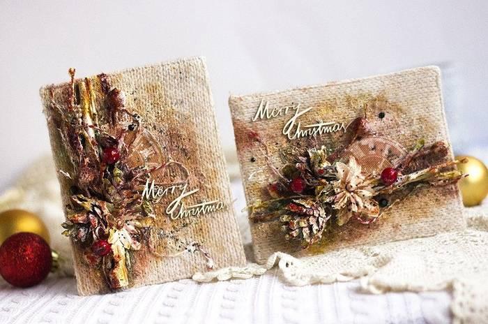 Рождественские открытки своими руками — 4 мастер-класса