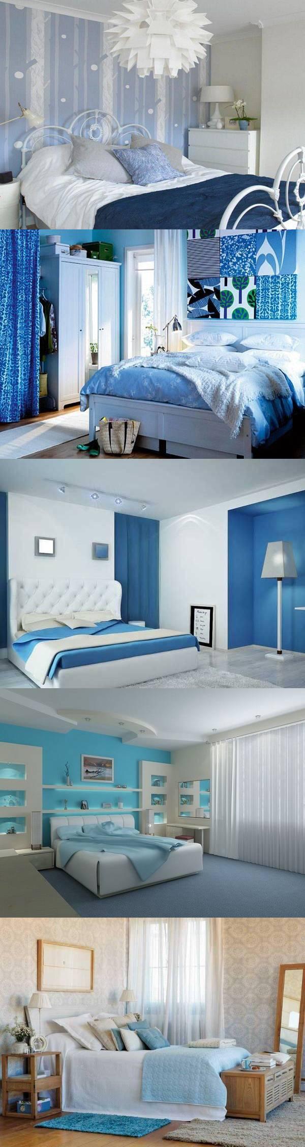 Голубой цвет в интерьере спальни — 26 идей