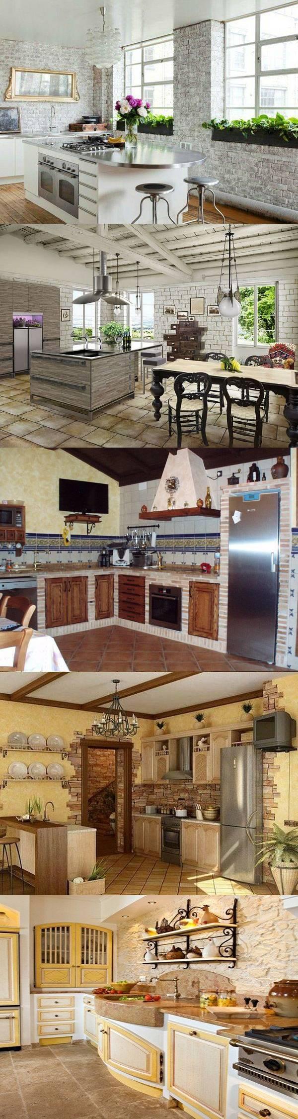 Отделка кухни камнем — 27 идей