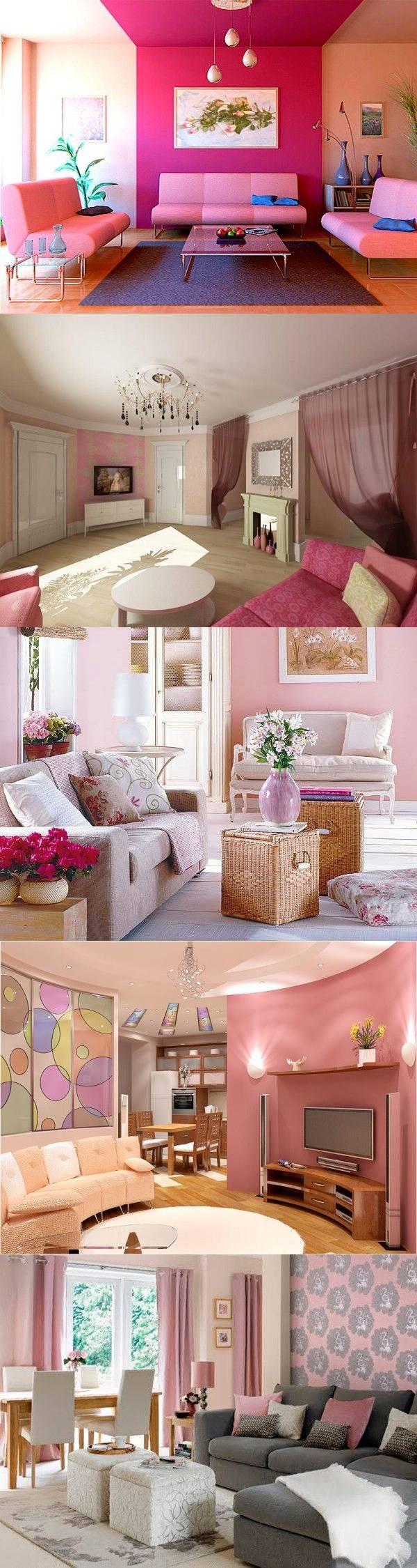 Розовый цвет в интерьере гостиной — 26 идей