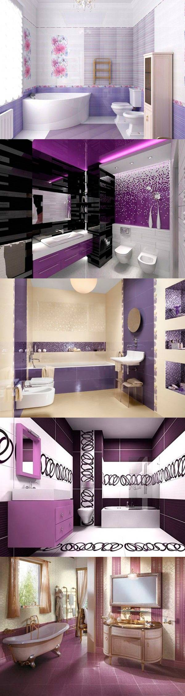 Ванная в фиолетовом цвете — 27 идей