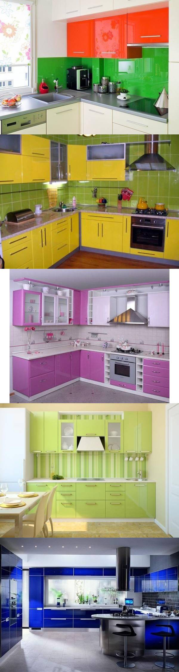 Яркие кухни - 24 идеи