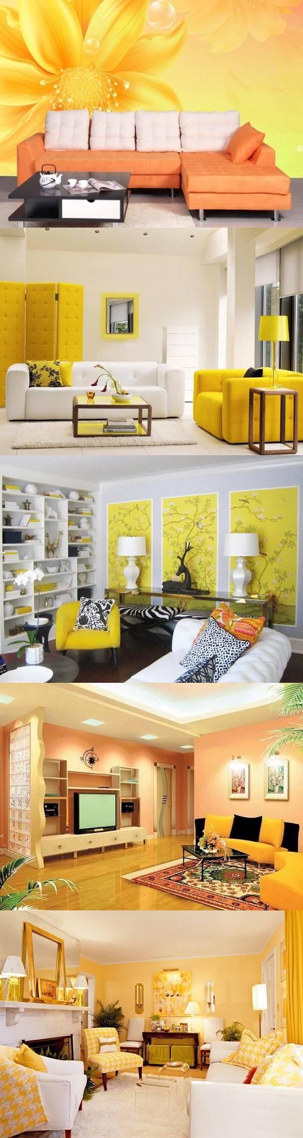 Желтый цвет в интерьере гостиной — 26 идей