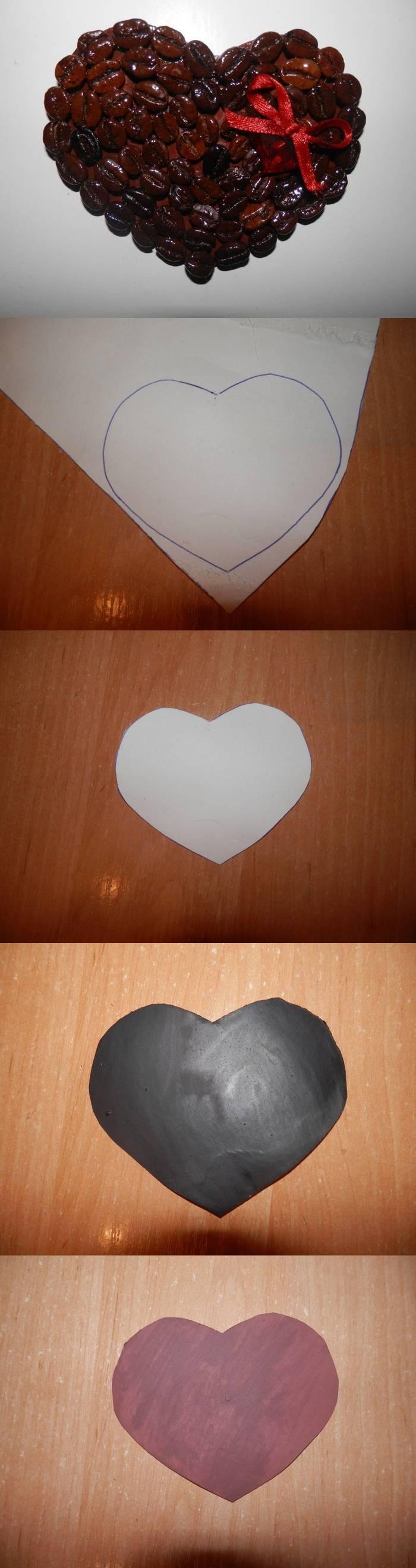 Магнит-сердце из кофейных зерен