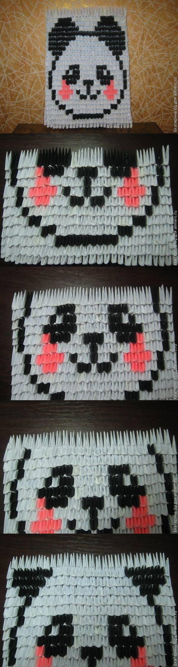 """Модульное оригами. Картина """"Панда"""""""