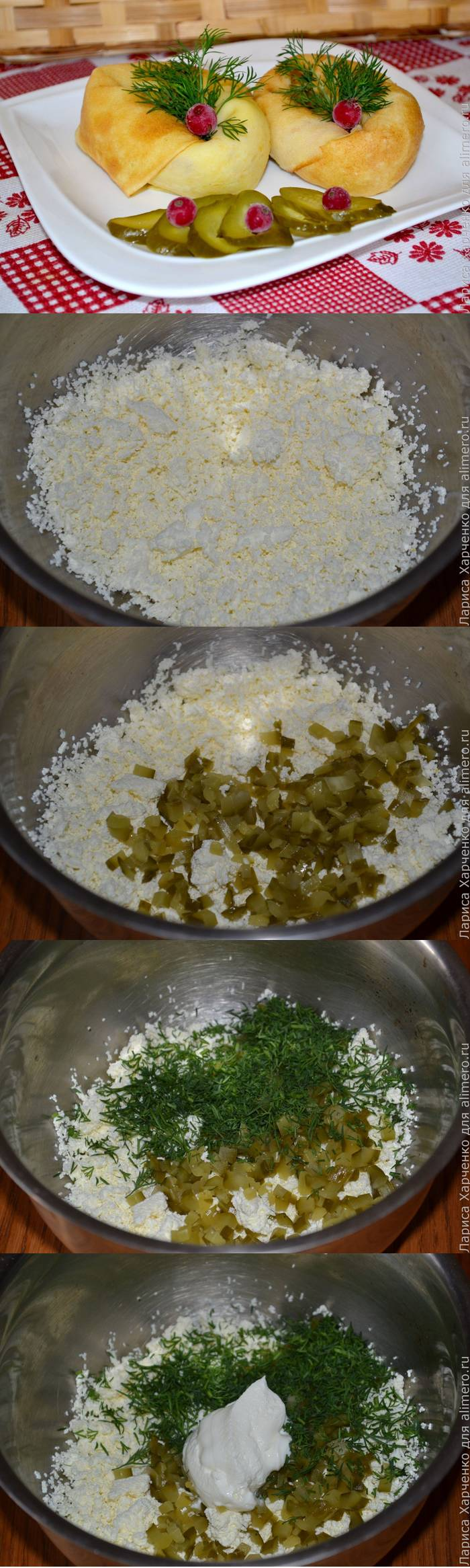 Блюдо из блинов — узелки с пикантной творожной начинкой