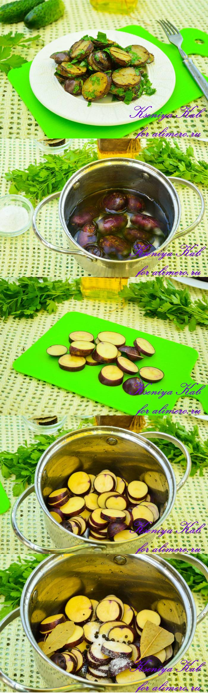 Молодой картофель гриль с зеленью