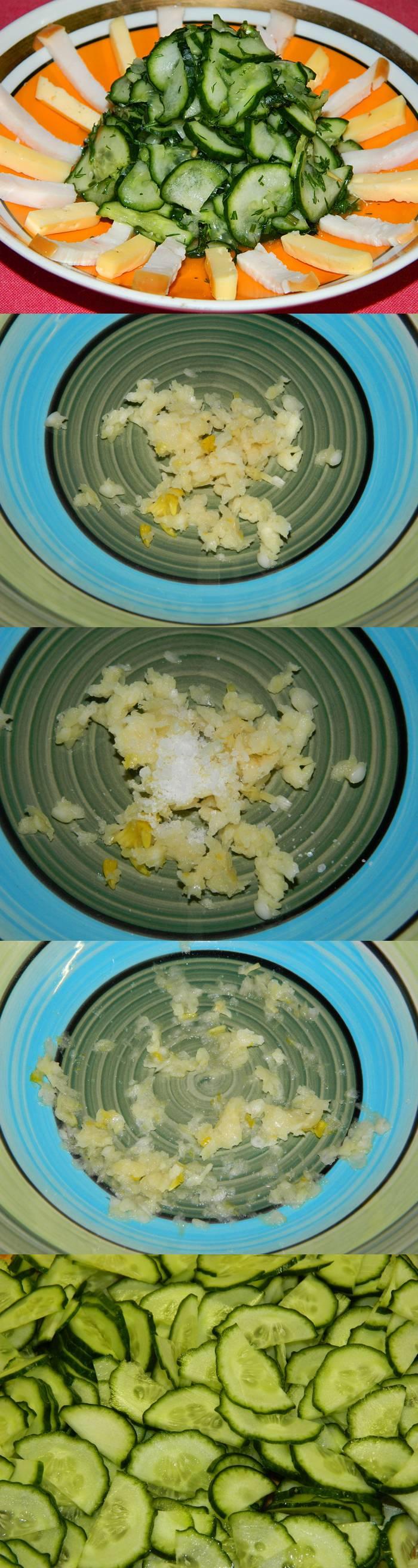 Огуречный салат без заправки