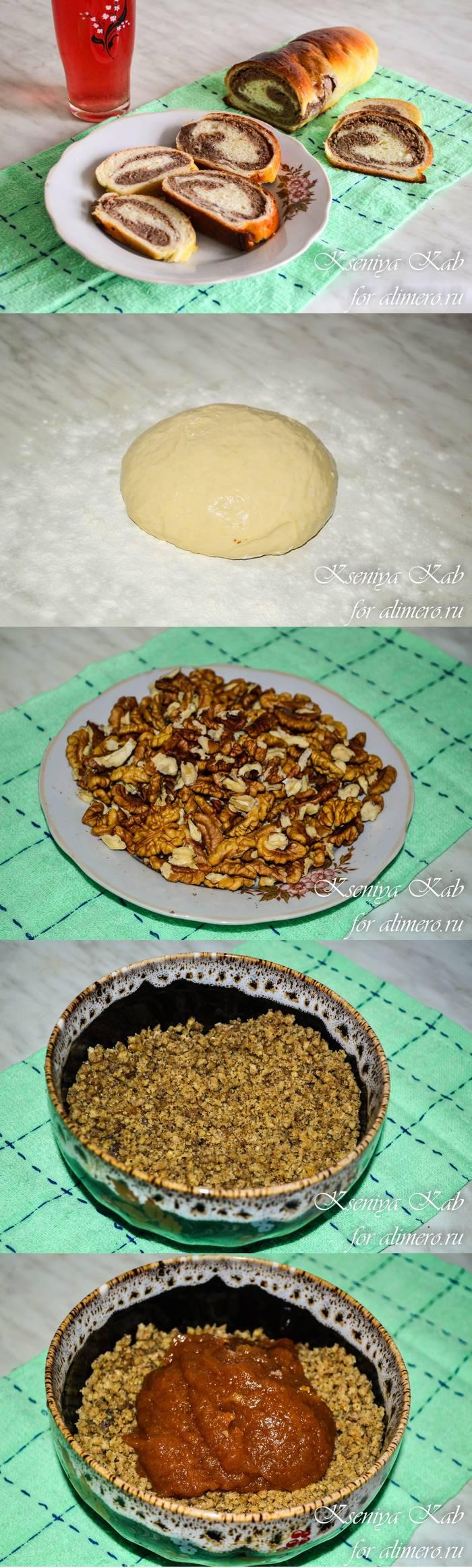 Ореховый рулет с абрикосовым джемом