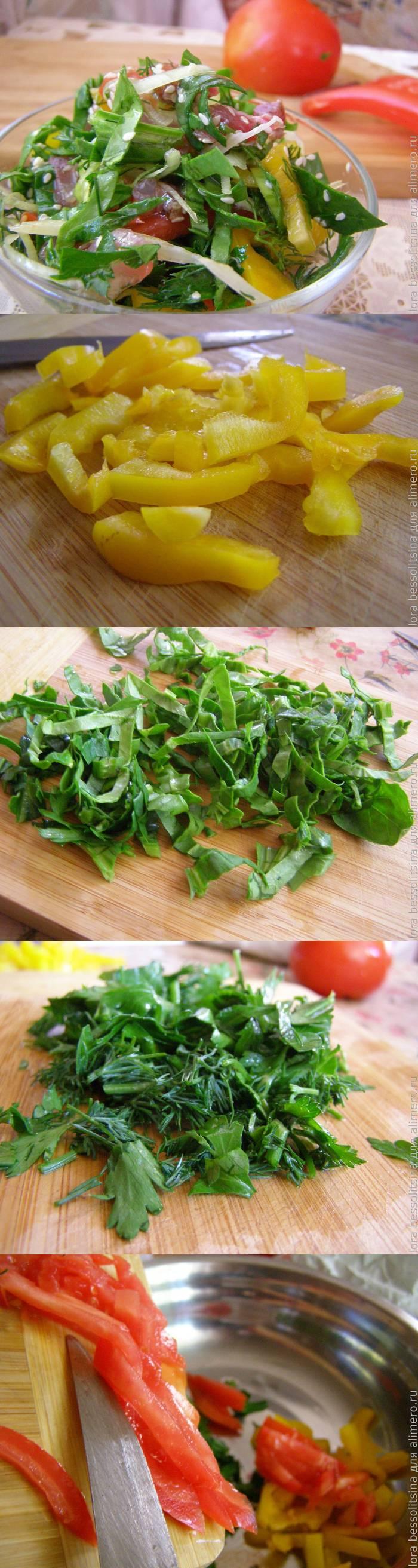 Овощной салат с вяленым толстолобиком