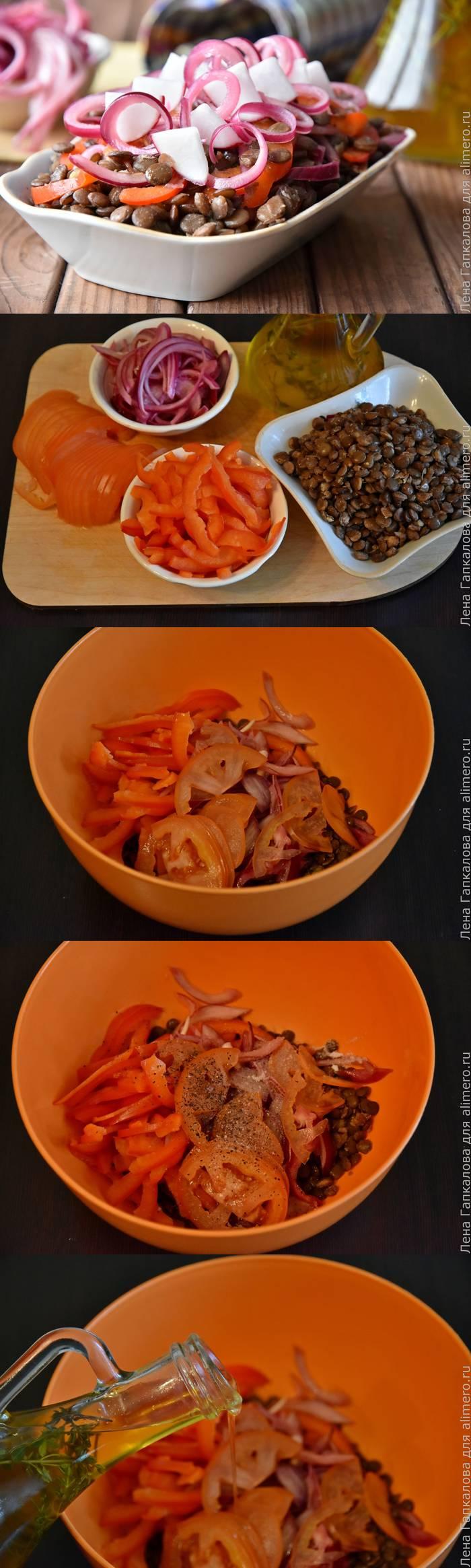 Полезный постный салат из чечевицы с маринованным луком