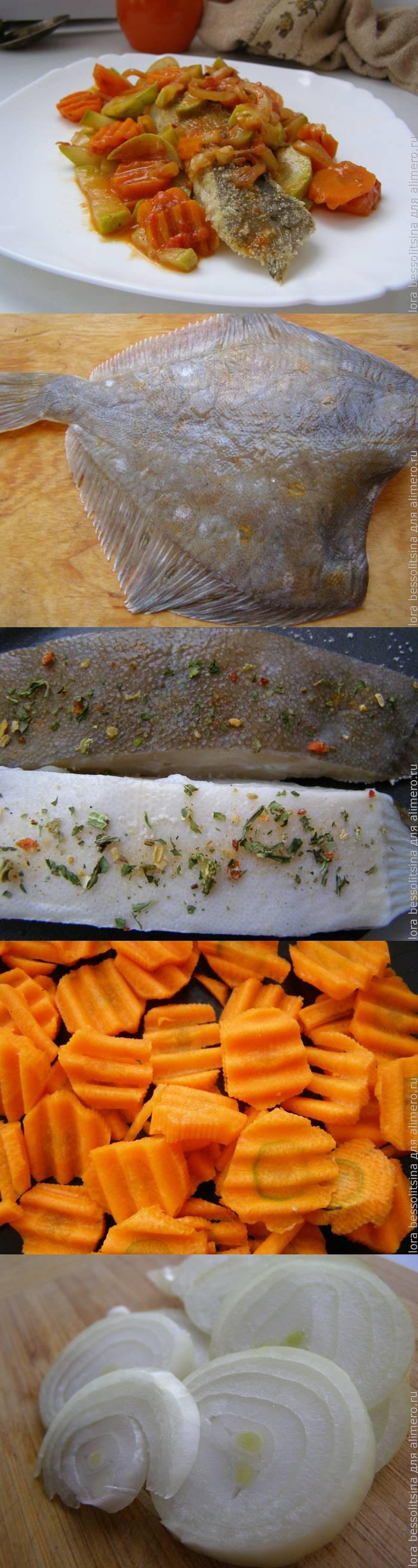 Камбала жареная на сковороде с овощами
