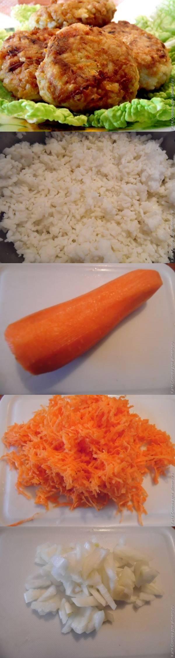 Рыбные котлеты с рисом и морковью