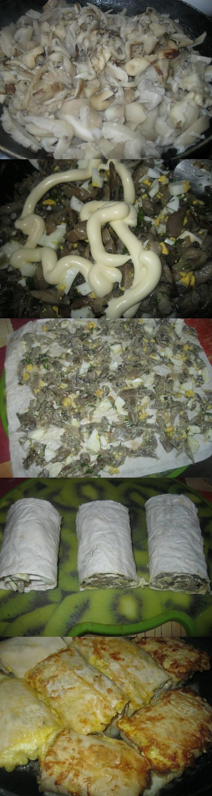 Рулетики с грибами в кляре