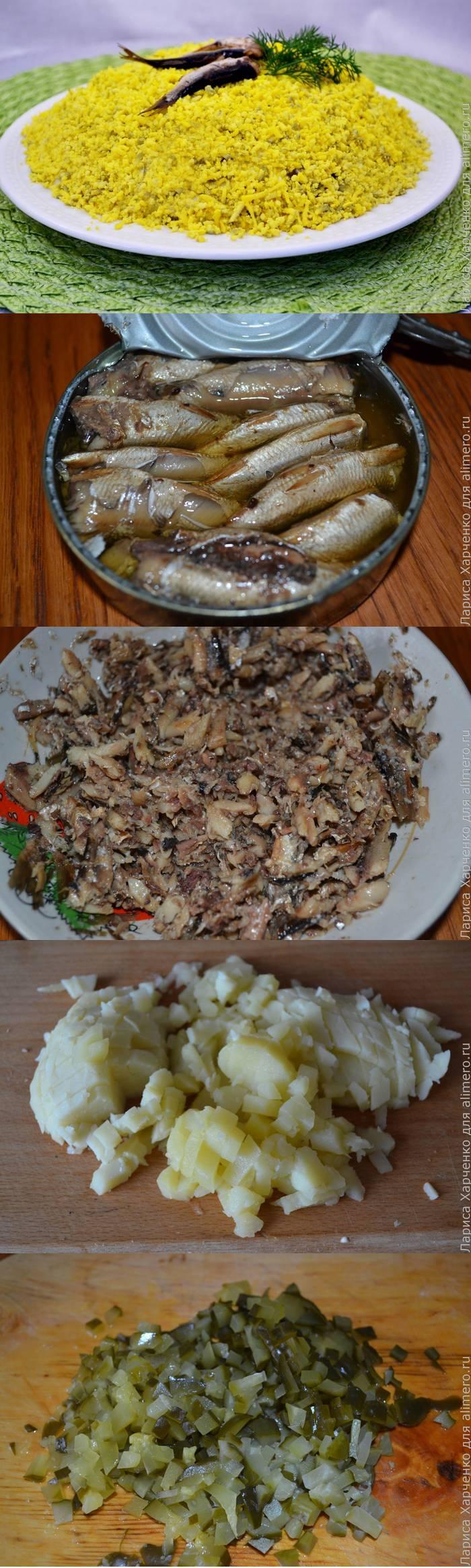 Салат со шпротами и солеными огурцами
