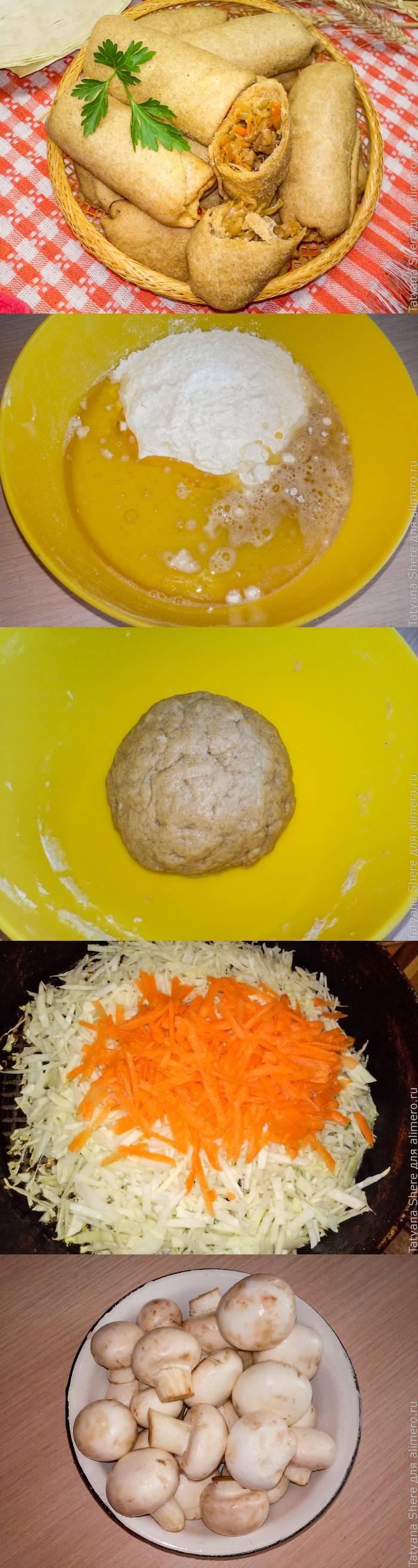 Самый удачный рецепт веганских ржаных пирожков с капустой и грибами