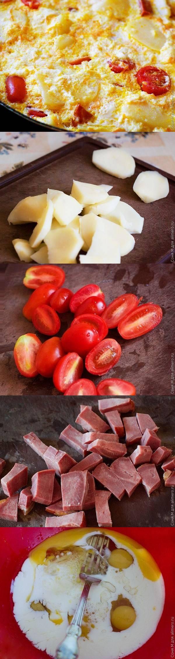 Слоеная запеканка из отварного картофеля, помидоров и языка