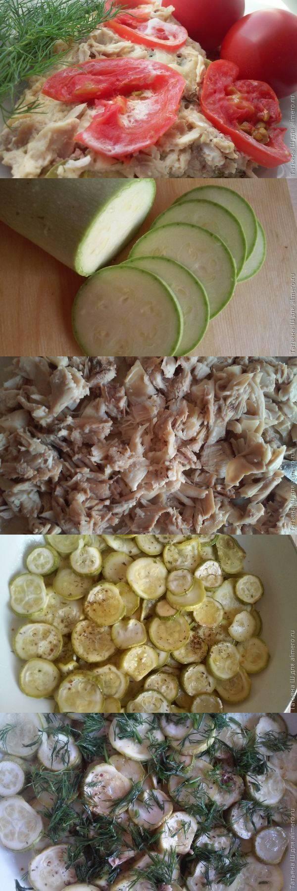 Запеканка на сковороде с кабачком и курицей