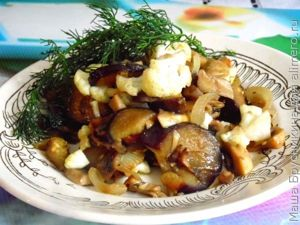 Теплая закуска из баклажанов грибов и цветной капусты