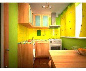 Яркая кухня, выполненная в желто-зеленых тонах, несомненно, придется по вкусу молодым творческим людям.