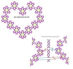 Нужно сплести 12 цветочков и соединить между собой, затем также сплести второе сердце из бисера. Соединить их между собой с помощью техники «низание двумя иглами» (см схемы).