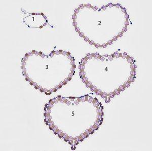 Схема этого сердечка весьма подробная, поэтому состоит из двух частей. Её легко будет освоить и начинающим занятия бисероплетением.