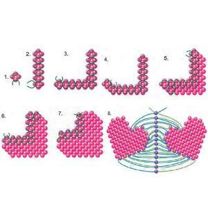Нужно набрать на леску 4 бисерины по схеме 1. Дальше плести так, как показано на схемах 2-7. И соединить два плоских сердечка в одно объёмное по схеме 8.