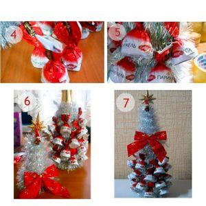 Приклейте термоклеем конфеты к бутылке. Наверх наденьте конус, обмотанный дождиком. Конус можно украсить декоративной звездой.