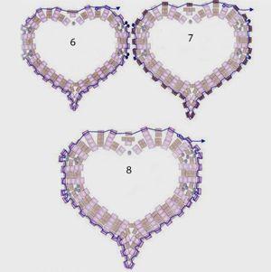 Техника плетения – мозаичная. Выполненное по этой схеме сердце можно использовать как кулон, подвеску на ключи или просто брелок.