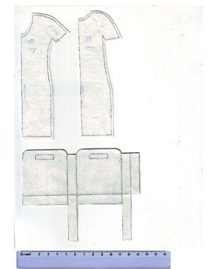Выкройка платья состоит всего из двух частей. Можно использовать пуговицы, кнопки, липучки или завязки.