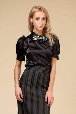 Черная Атласная Блузка С Доставкой