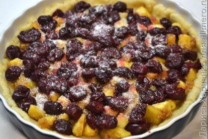Пирог с яблоками и вишней - рецепт пошаговый с фото