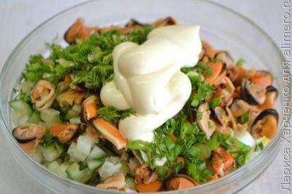 Праздничная закуска из риса, огурца и мидий - рецепт пошаговый с фото