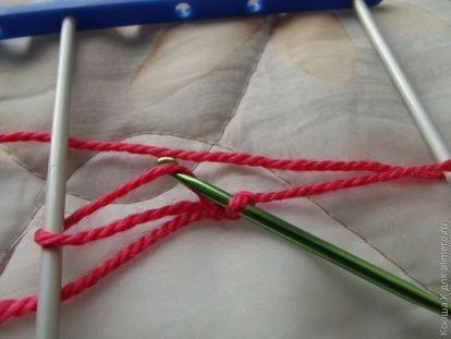 Способы соединения полос вязание на вилке 62