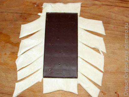 Слойка с бананом и шоколадом - рецепт пошаговый с фото