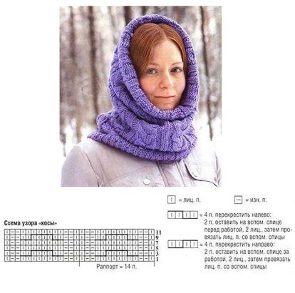 представляет собой шарф труба спицами схема вязания фото этом