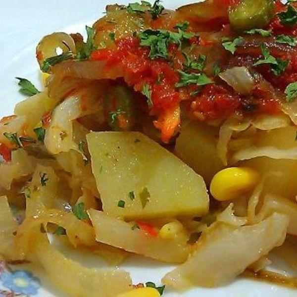 Овощное рагу с печенью и картошкой и капустой рецепт