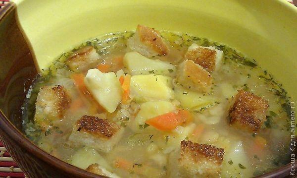 гороховый суп из говядины рецепт с сухариками