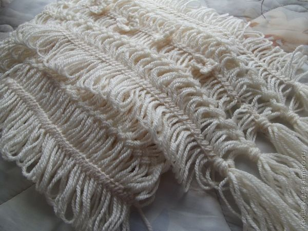 вязаный на вилке шарф палантин хенд мейд