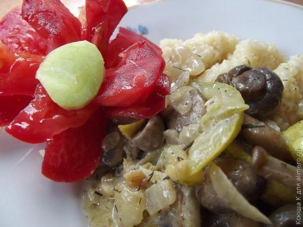 грибы с кабачками