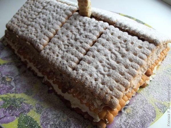 Торт домик без выпечки рецепт с фото