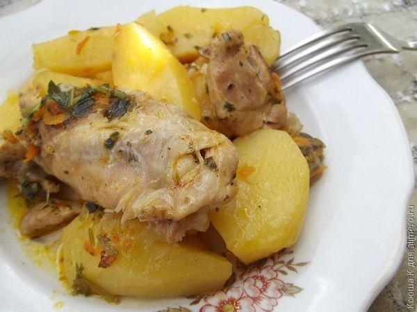 картофель тушеная с курицей в мультиварке рецепт с фото