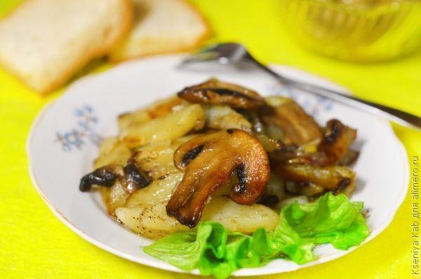 картошка с шампиньонами жареная