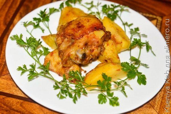 картофель с курицей и майонезом в духовке рецепт