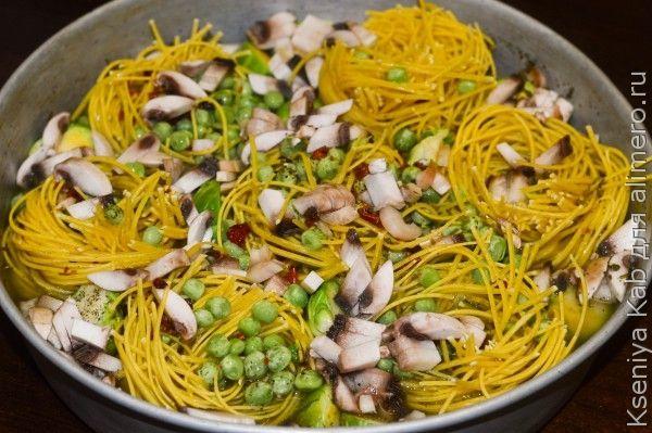 рецепты приготовления гнезда из макарон