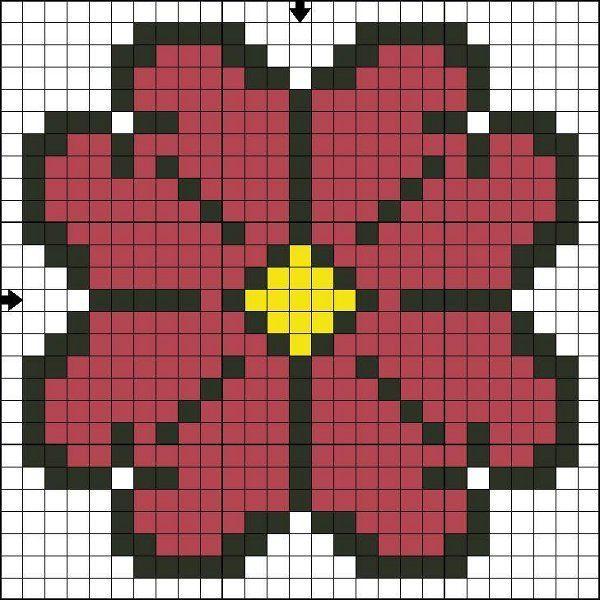 Вышивка крестом: простой цветок для начинающих, черно-белая и цветная схемы.