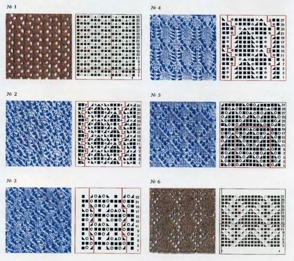 Ажурные узоры: Схемы и образцы узоров: Вязание на спицах