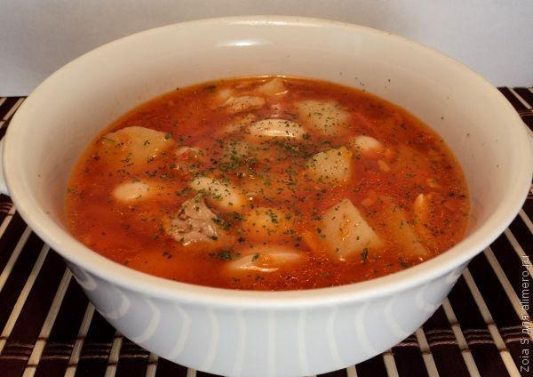 Суп из темной фасоли с мясом рецепт