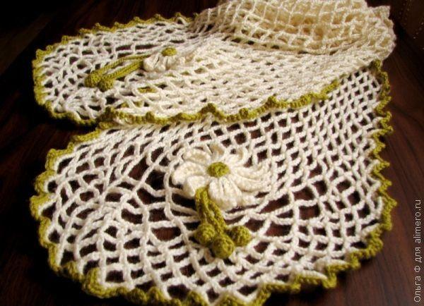 Ажурный шарф крючком с